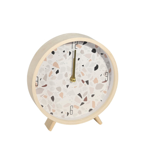 Wood Terrazzo Table Clock - Shop Decorative Objects - DARRA HOME
