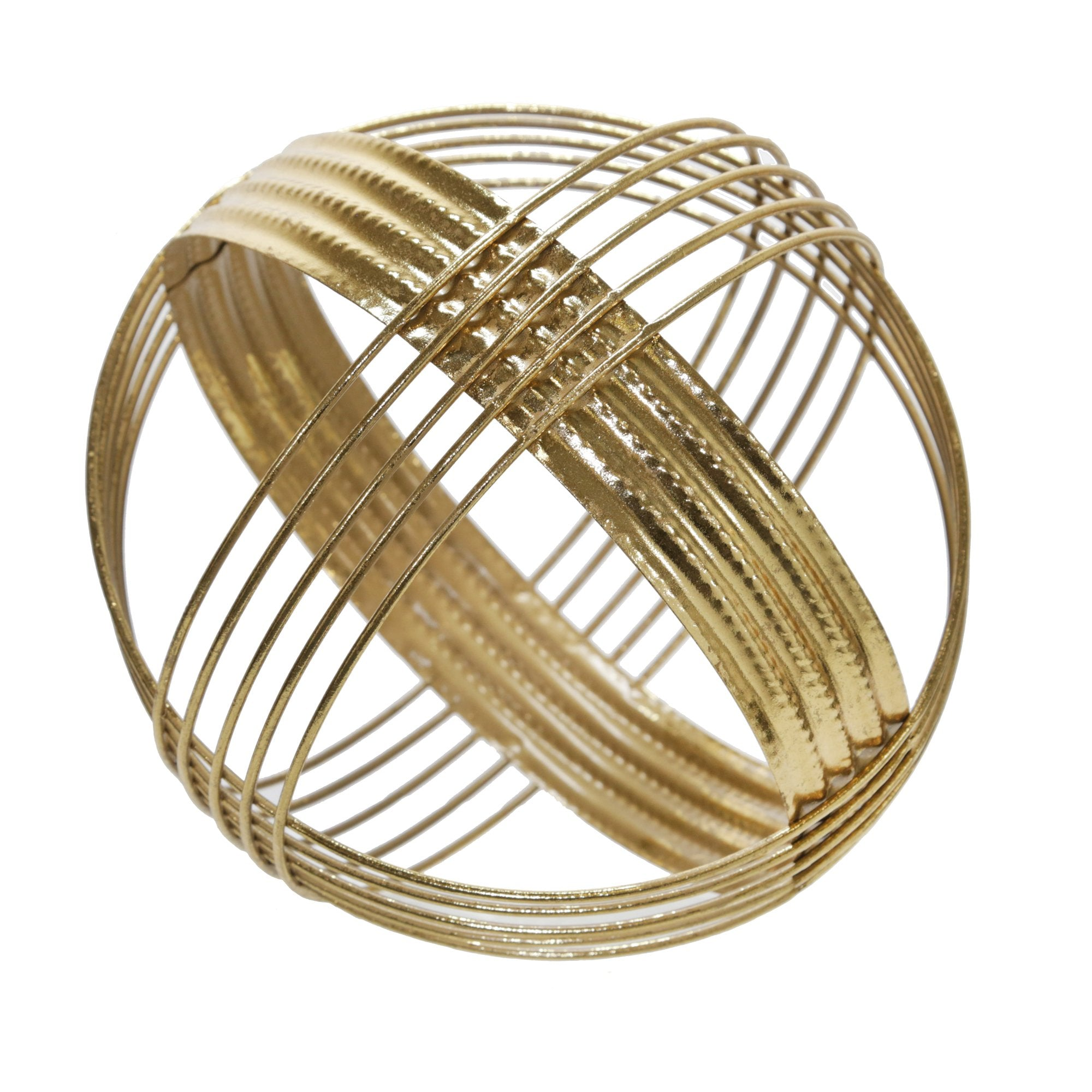 Gold Metal Band Decorative Sphere - DARRA HOME