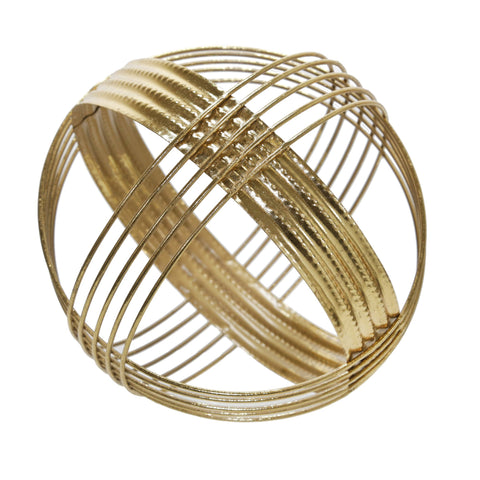 Gold Metal Band Decorative Sphere - Shop Statue - DARRA HOME