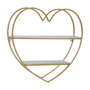 METAL/WOOD 2 TIER HEART WALL SHELF, WHITE/GOLD