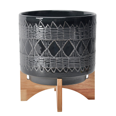 "CERAMIC 11"" AZTEC PLANTER ON WOODEN STAND, BLACK"