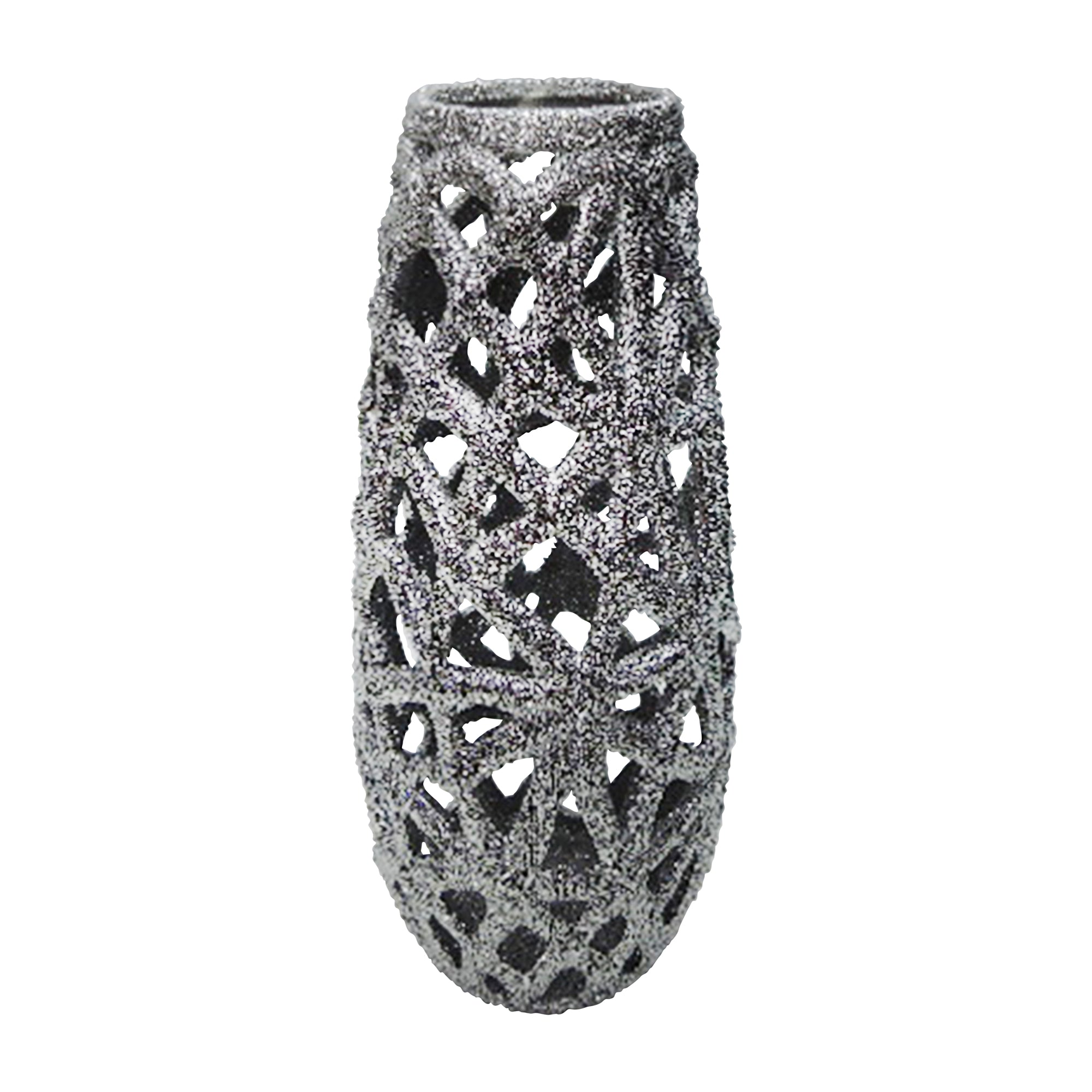 "CERAMIC 13"" CUT-OUT VASE, SILVER"