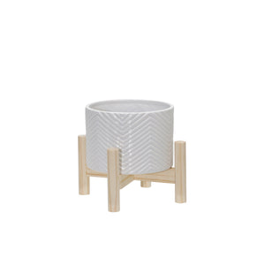 "6"" CERAMIC CHEVRON PLANTER W/ WOOD STAND, WHITE"