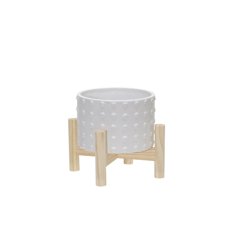 "6"" CERAMIC DOTTED PLANTER W/ WOOD STAND, WHITE"