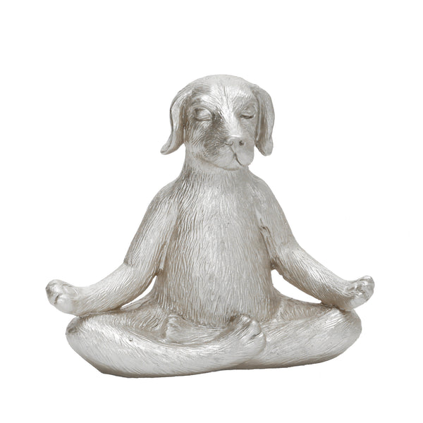 "POLYRESIN 7"" YOGA DOG, SILVER"