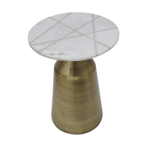 Gold Round Side Table with Marble Tabletop - Shop Table - DARRA HOME