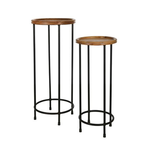 Black Plant Stands with Wooden Tabletop - DARRA HOME