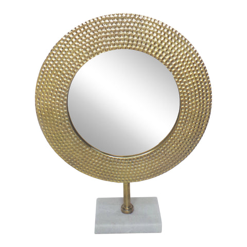 Gold Hammered Mirror on Stand - DARRA HOME