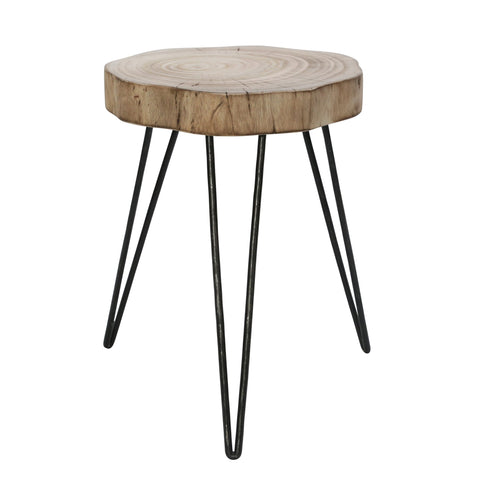 Modern Black and Wood Metal Stool - Shop Table - DARRA HOME
