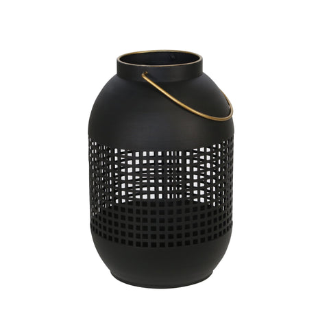 Black Metal Cage Hurricane Lantern - DARRA HOME