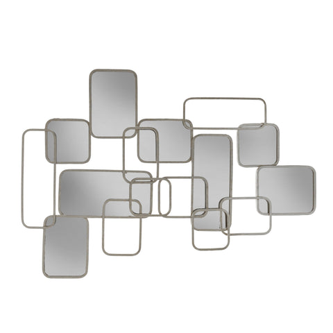 Silver Abstract Mirrored Wall Decor - DARRA HOME