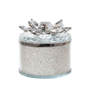 "CRYSTAL 4"" ROUND LOTUS BOX, CLEAR"