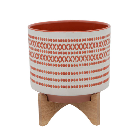 "11"" AZTEC PLANTER W/ WOOD STAND, RED"