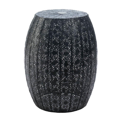 Black Moroccan Lace Stool - DARRA HOME
