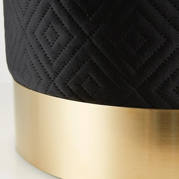 black velvet stool with gold base