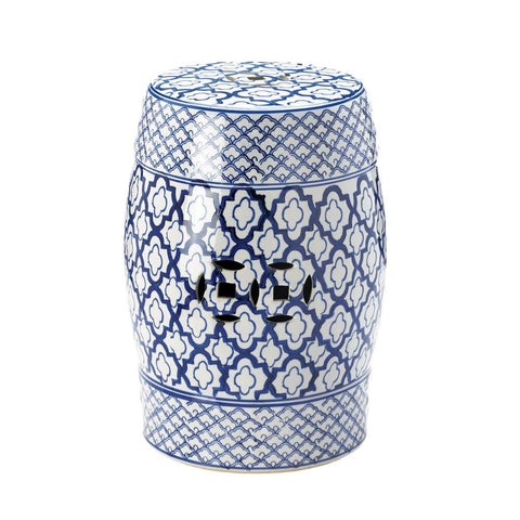 Blue and White Ceramic Stool - DARRA HOME