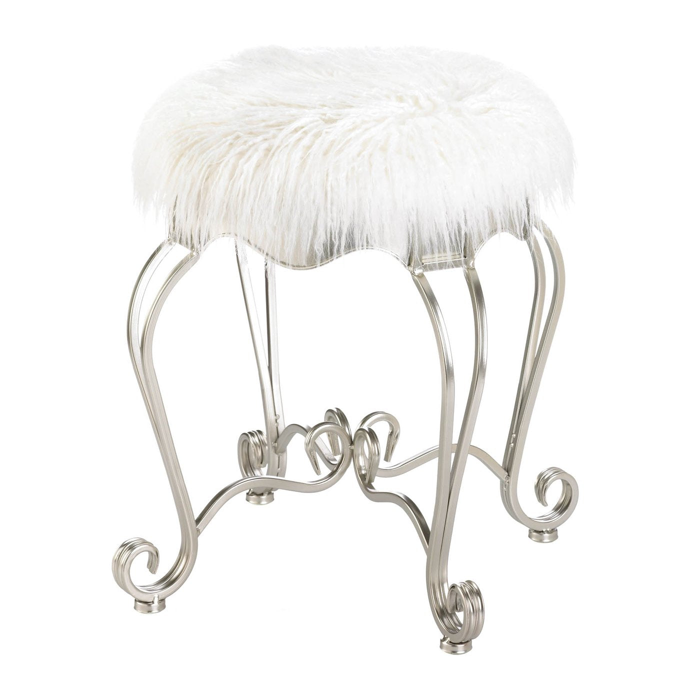 Fur Stool With Scroll Legs - Shop Stool - DARRA HOME