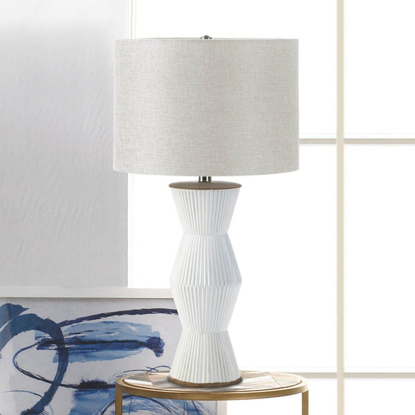 Gable White Ridges Table Lamp