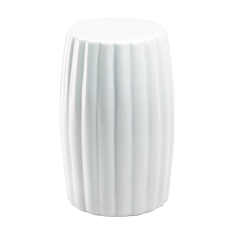 Glossy White Ceramic Stool - DARRA HOME