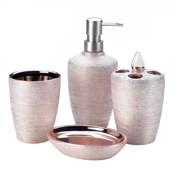 Golden Rose Shimmer Bath Accessory Set - Shop Bath Set - DARRA HOME