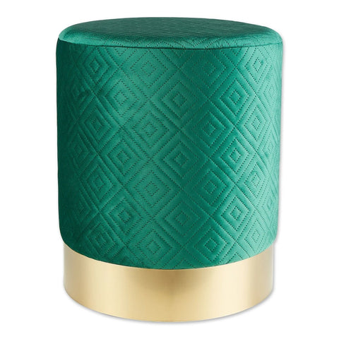 Green Velvet Gold Stool - DARRA HOME