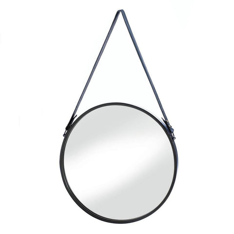 Hanging Mirror With Faux Leather Strap - DARRA HOME