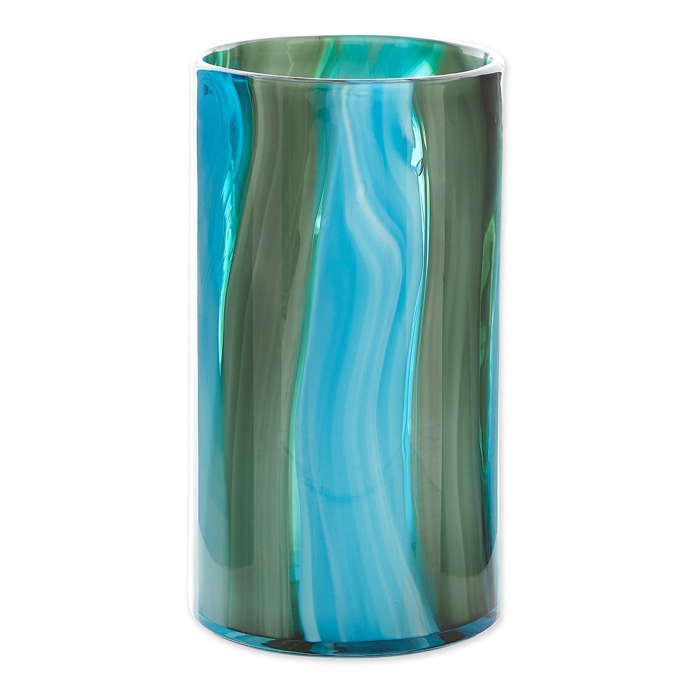 Large Blue Cylinder Glass Vase