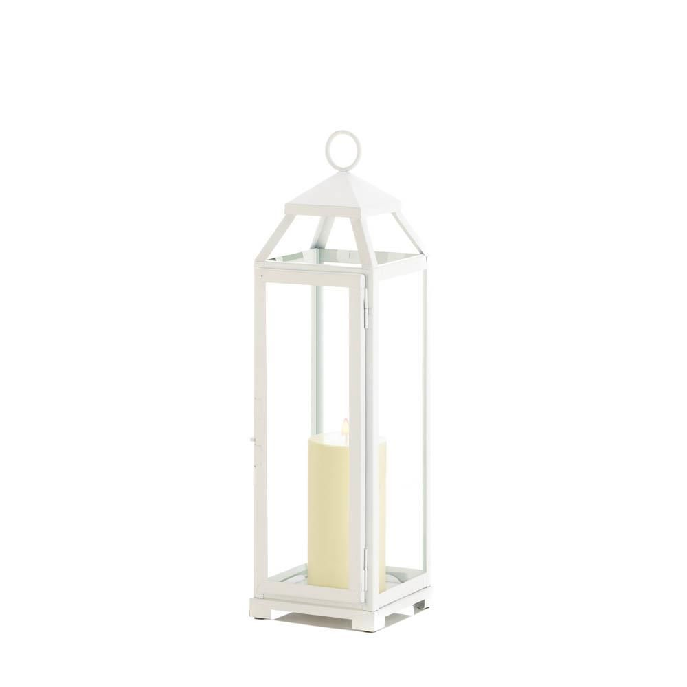 Large Country White Open Top Lantern