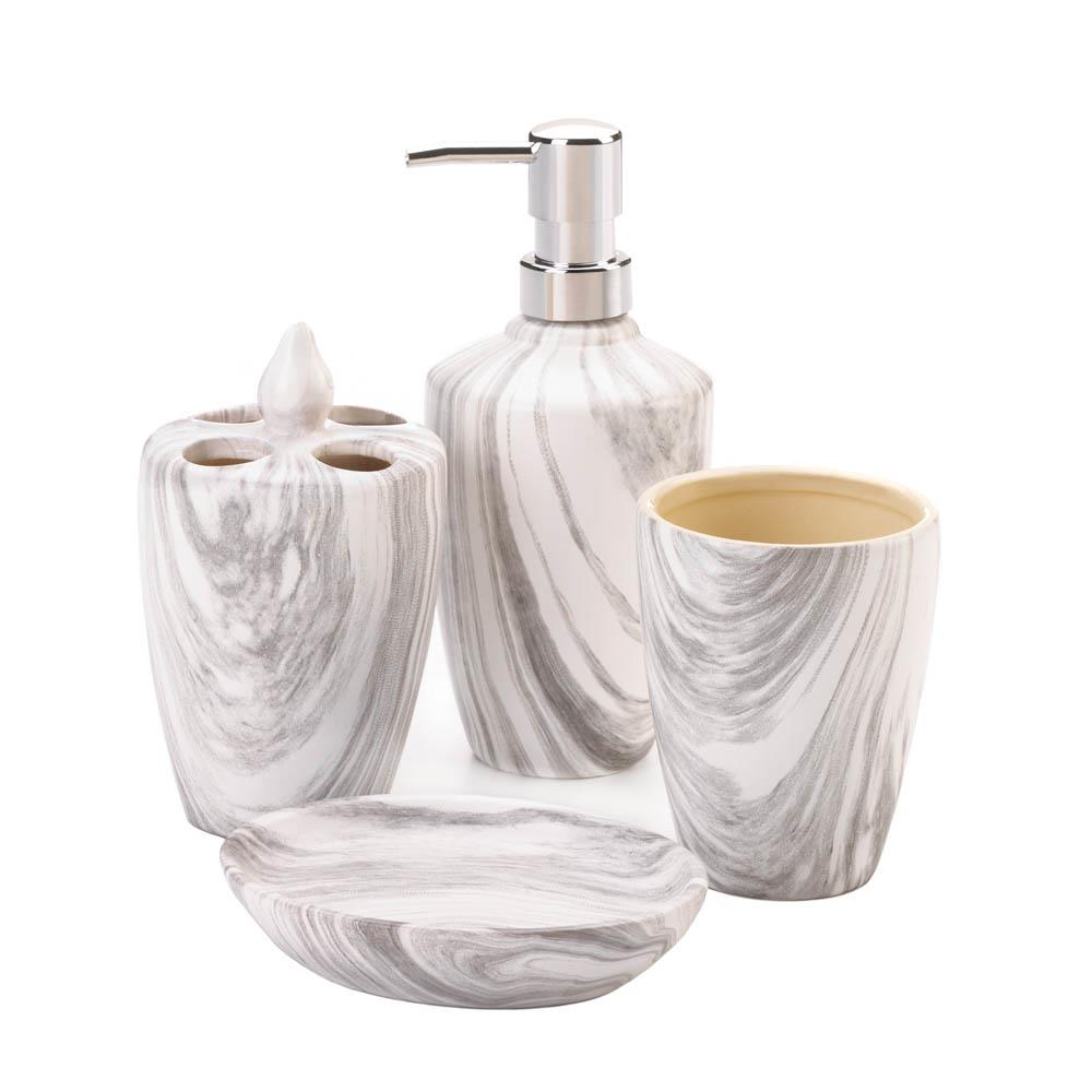 Marble Printed Bath Accessory Set - DARRA HOME