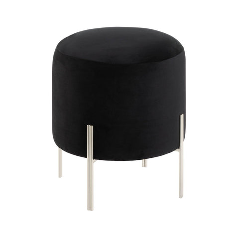 Modern Black Velvet Stool - DARRA HOME