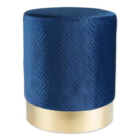 Navy Blue Velvet Gold Stool - DARRA HOME