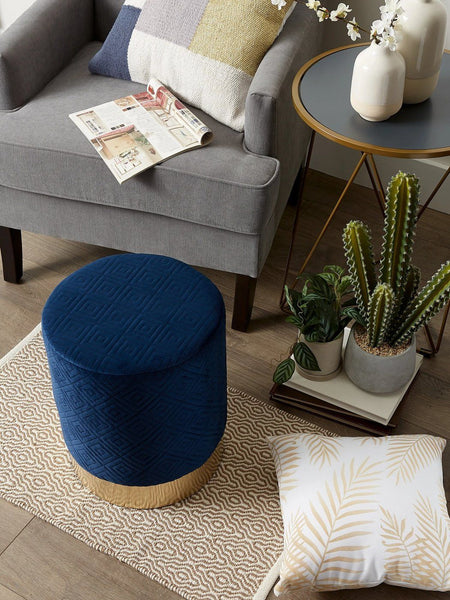 Navy Blue Velvet Stool - Shop Stool - DARRA HOME