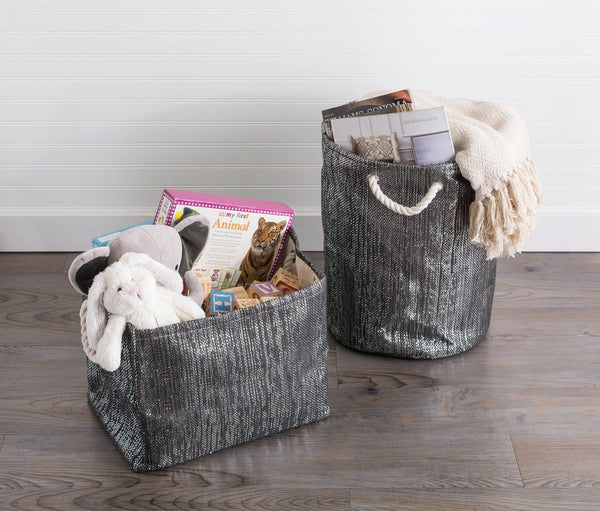 Paper Bin Lurex Black/Silver Rectangle - Shop Basket - DARRA HOME