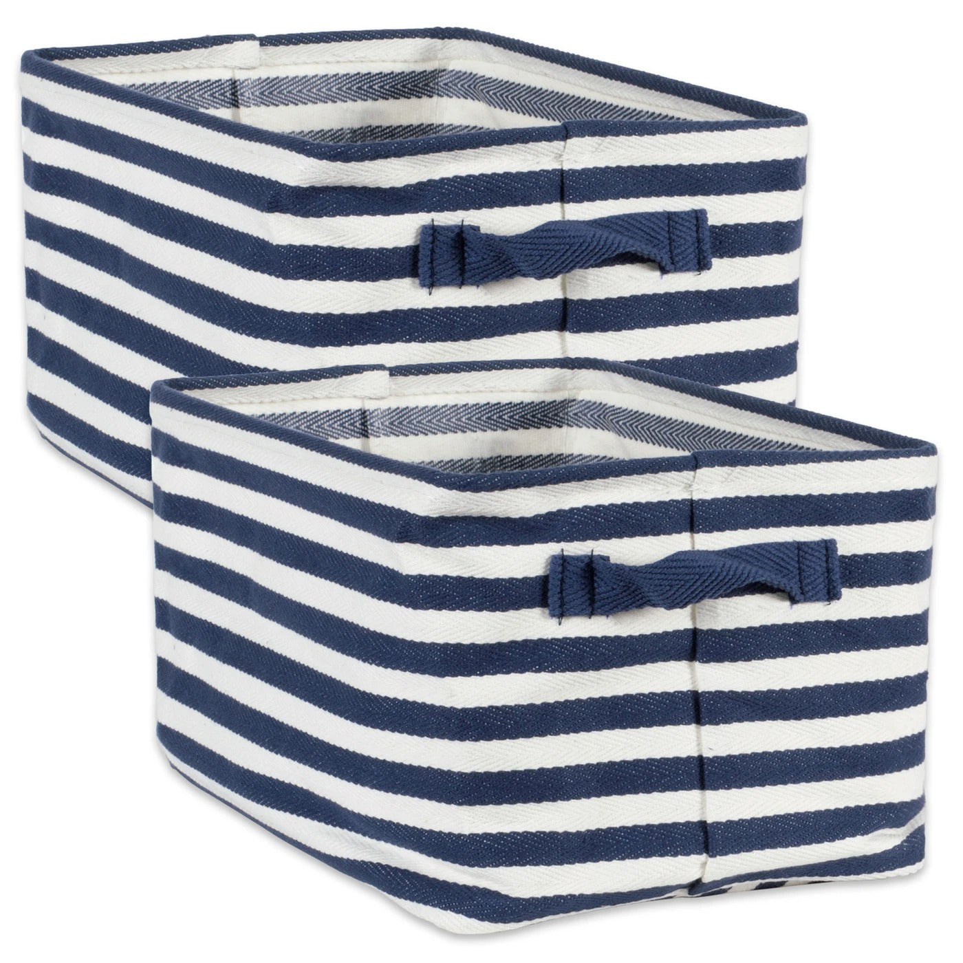 Coated Herringbone Woven Cotton Laundry Bin Stripe French Blue Rectangle, Large - Shop Basket - DARRA HOME