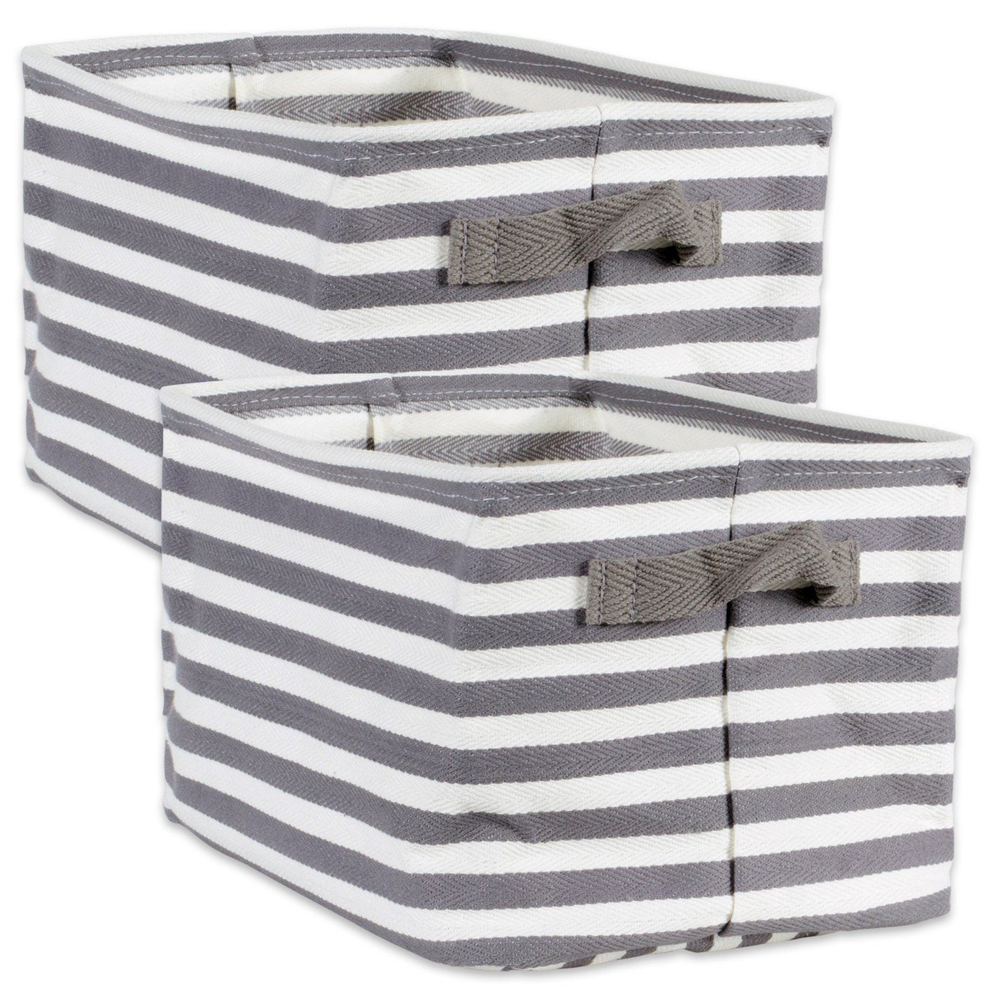 Coated Herringbone Woven Cotton Laundry Bin Stripe Gray Rectangle Medium, Set/2 - Shop Basket - DARRA HOME