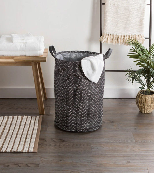 Tribal Laundry Hamper Chevron Black/White, Round - Shop Basket - DARRA HOME
