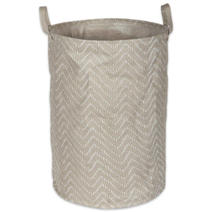 Tribal Woven Paper Laundry Hamper Chevron Stone/Cream, Round - Shop Basket - DARRA HOME