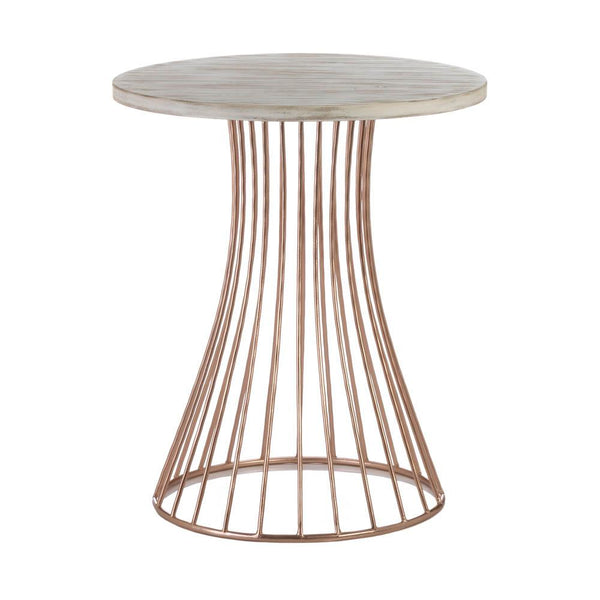 Rose Gold Base Circle Accent Side Table - Shop Table - DARRA HOME