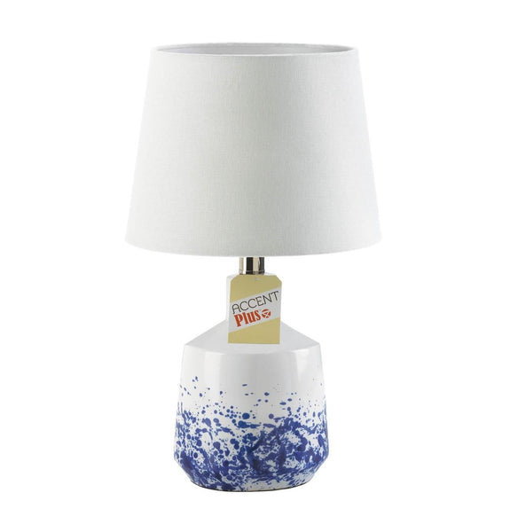 White & Blue Splash Table Lamp - DARRA HOME