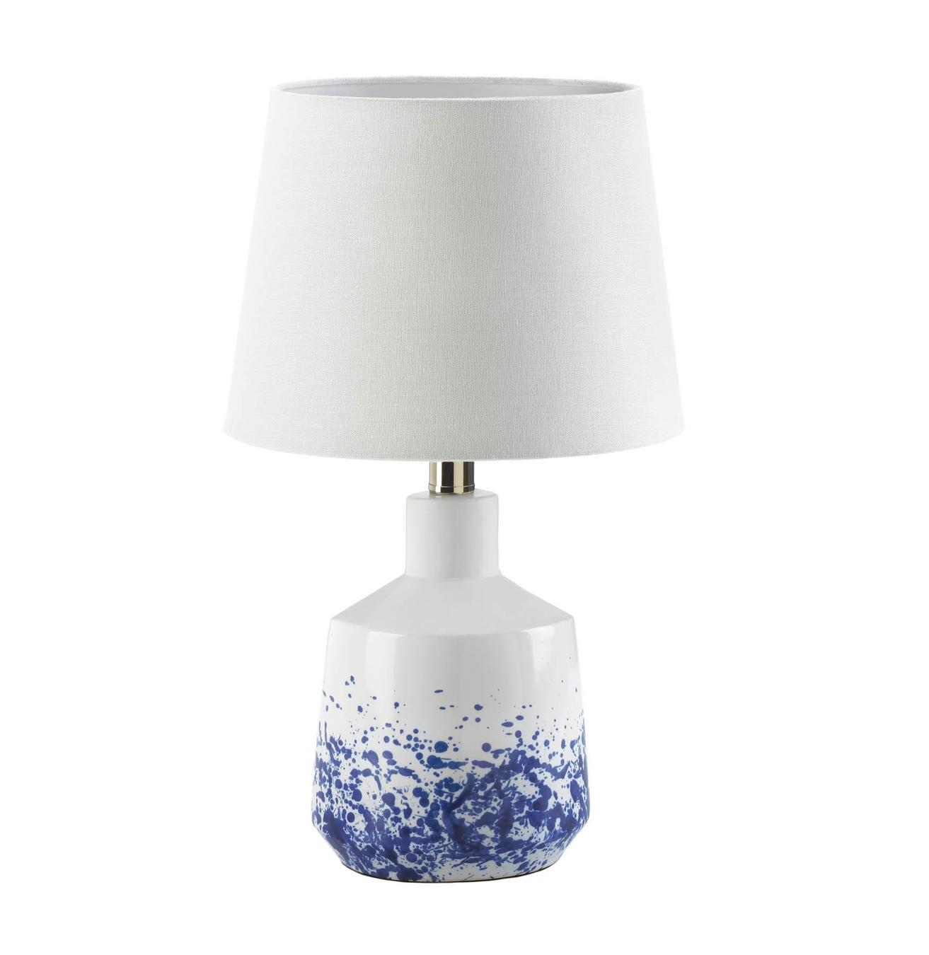 White & Blue Splash Table Lamp - Shop Lamp - DARRA HOME
