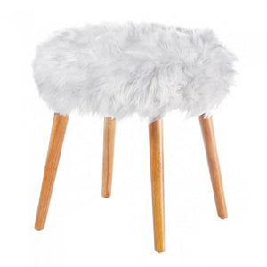 White Faux Fur Stool - Shop Stool - DARRA HOME