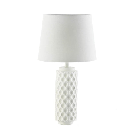 White Honeycomb Table Lamp - Shop Lamp - DARRA HOME