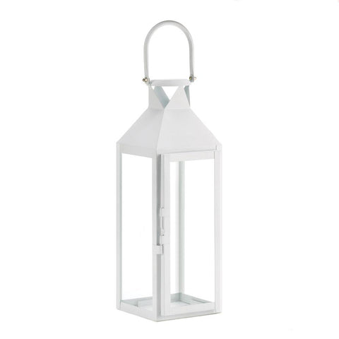 White Manhattan Candle Lantern - DARRA HOME
