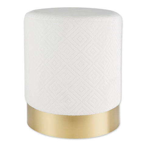 White Velvet Gold Stool - DARRA HOME
