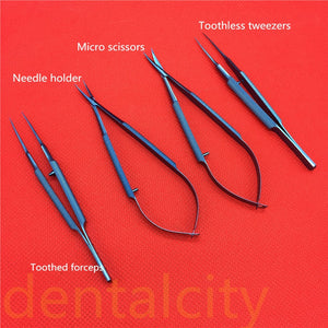 Titanium Tlloy Surgical Instruments Ophthalmic Microsurgical Dental Instruments Needle Holders + 11.5cm Scissors +Tweezers