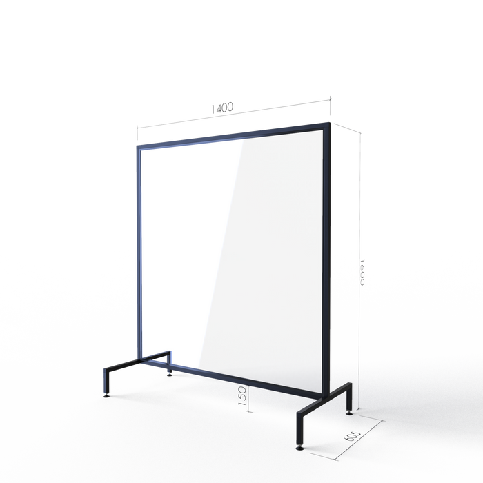 Nano - Floor Unit, Adjustable Base Perspex Screens with 150mm Clearance