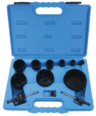 12 PIECE HIGH SPEED STEEL BI-METAL HOLESAW KIT- 16mm to 92mm