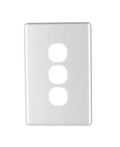 NLS 3 GANG SWITCH BRUSHED ALUMINIUM COVER ONLY ' CLASSIC' STYLE '