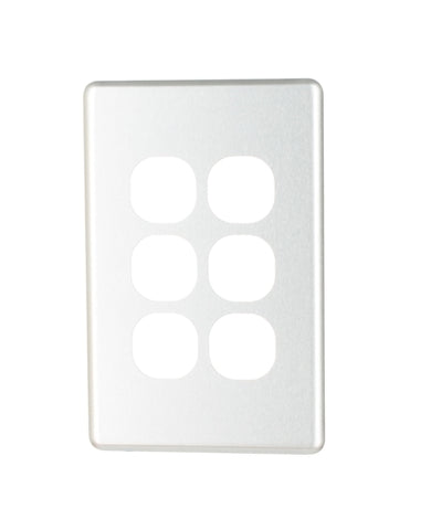 NLS 6 GANG SWITCH BRUSHED ALUMINIUM COVER ONLY ' CLASSIC' STYLE '