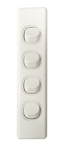 4 GANG ARCHITRAVE SWITCH 10AMP 250V WHITE